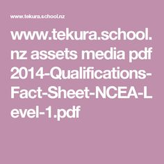 National certificate of educational achievement ncea nzqa tekurahool assets media pdf 2014 qualifications fact urtaz Choice Image
