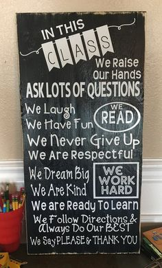 Classroom Rules Wood Sign