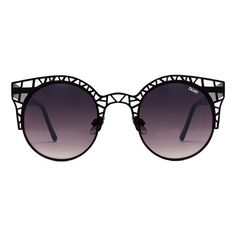 Quay Australia Black Fleur Sunglasses (£26) ❤ liked on Polyvore featuring accessories, eyewear, sunglasses, glasses, jewelry, очки, cut out sunglasses, uv protection sunglasses, round sunglasses et stainless steel glasses