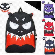 Mens Womens Colorful Funny Face Backpack Cool School Book Bag ...