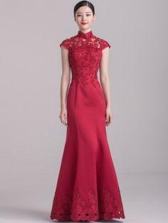Wine Red Mermaid Floor-length Qipao / Cheongsam Wedding Dress