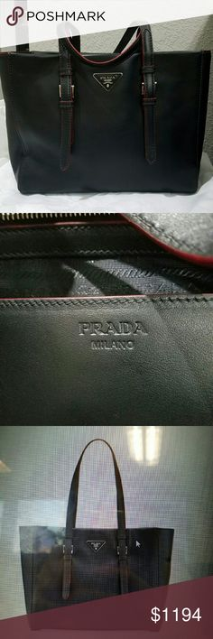 "Prada City Sport Shopper Bag, Black/Red 100% Authentic Brand new Prada City Sport Shopper Bag. Prada calf leather two-tone tote bag with silvertone hardware. Flat shoulder straps with covered buckles; 9"" drop. Triangle logo with metal lettering. Open top. Inside, jacquard lining; one slip and two zip pockets. Feet protect bottom of bag. 10""H x 12.6""W x 6""D. Made in Italy. Prada Bags Totes"