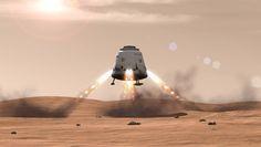 Uma nave espacial SpaceX Dragão pousa em Marte nesta ilustração artista das possibilidades para a nave espacial construída em particular.  SpaceX CEO Elon Musk disse que ainda este ano ele vai apresentar o seu conceito para futuras missões tripuladas ao planeta vermelho.