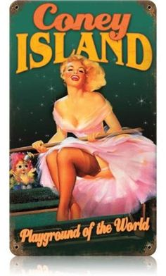 Vintage and Retro Wall Decor - JackandFriends.com - Vintage Coney Island  - Pin-Up Girl Metal Sign, $35.97 (http://www.jackandfriends.com/vintage-coney-island-metal-sign/)