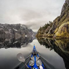 """#Lysefjorden earlier today,  near Stavanger #Norway . #gopro4 The water was calm, but it was cold. #fjordnorway #ilovenorway"""
