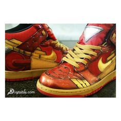 Diversitile Iron Man and War Machine Custom Light UP Nike Dunks ❤ liked on Polyvore featuring shoes