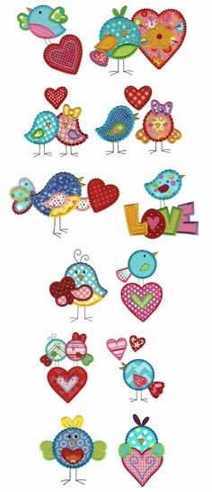 Embroidery Designs | Applique Machine Embroidery Designs | Love Birds Applique