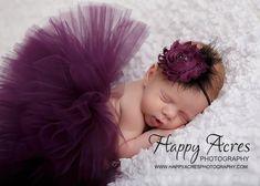 PLUM PRINCESS....newborn tutu, baby tutu with vintage headband, newborn photography prop.....plum tutu, purple tutu. $34.95, via Etsy.