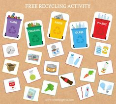 A fun printable activity and recycling game to help your kids get familiar with recycling. Great as part of an earth day activity. Recycling Games, Recycling Activities For Kids, Recycling For Kids, Diy Recycling, Recycling Projects, Sorting Games, Sorting Activities, Educational Activities, Educational Websites