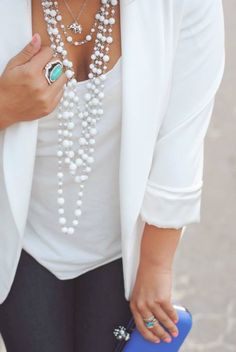 How to wear pearls... LOVE the layering look here, clean whites, and pop of color!
