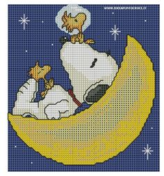 schema snoopy e wood sulla luna by deann Cross Stitch Boards, Cross Stitch Baby, Counted Cross Stitch Patterns, Cross Stitch Designs, Embroidery Art, Cross Stitch Embroidery, Stitch Character, Stitch Cartoon, Crochet Cross