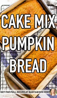 Make the best pumpkin bread with cake mix! An easy recipe that saves time and gives you fluffy, moist, delicious pumpkin sweet bread. Pumpkin Recipes Cake Mix, Recipes Using Cake Mix, Cake Mix Cookie Recipes, Cake Recipes, Dessert Recipes, Cake Mix Banana Bread, Easy Banana Bread, Banana Bread Recipes, Pumpkin Nut Bread