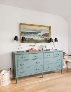 Loving this muted teal dresser for an otherwise white and neutral-colored light, bright and airy bedroom! Cozy, cute, classic and so romantic. dresser Master Bedroom Update + Another Ask the Audience - Emily Henderson Decoration Chic, Decoration Bedroom, Home Decor Bedroom, Wall Decor, Bedroom Lamps, Bedroom Bed, Bed Room, Bedroom Ideas, Teal Dresser