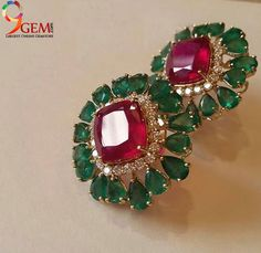 Beautiful ruby gemstone embedded with emerald stone stud earrings add more class to your attire