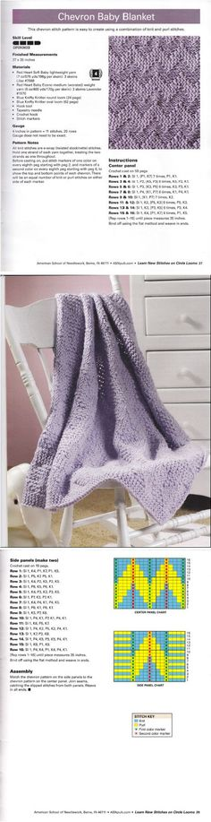 Learn New Stitches on Circle Looms by Anne Bipes: Chevron Baby Blanket: Loom Knitting Blanket, Loom Knitting Stitches, Knifty Knitter, Loom Knitting Projects, Arm Knitting, Knitted Blankets, Loom Blanket, Yarn Projects, Weaving Loom Diy