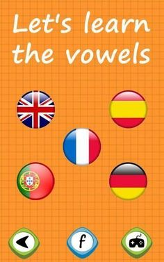 Learn the vowels is a game for toddlers where the kids will learn the vowels in 5 languages, using a simple and intuitive interface, including a funny animation.<p>Languages in the game:<br>- English<br>- Spanish<br>- French<br>- German<br>- Portuguese  http://Mobogenie.com #portugueselessonsforkids #frenchlessonsfunny #learnportugueseforkids