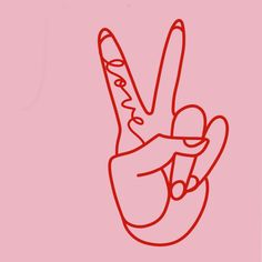 Peace and love finger illustration - pink and red line drawing Bedroom Wall Collage, Photo Wall Collage, Picture Wall, Picture Collages, Pink Lila, Red And Pink, Red Aesthetic, Aesthetic Pictures, Image Deco