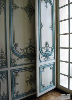Attention to exquisite blue detail on boiserie ~ Palace of Versailles!