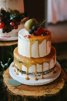 The Hottest Trend in Wedding Desserts: Drip Cakes | Autumn Fall Harvest-Inspired Semi-Naked Chocolate Cake Drizzled with Caramel and topped with fruits