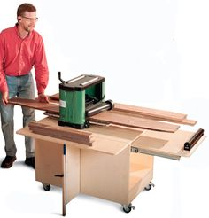 I definitely need one of these. Benchtop Planer Cart - Free Woodworking Plans
