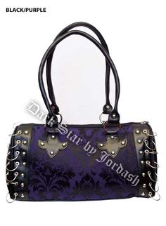 Dark Star Black and Purple Gothic Brocade Hand Bag [DS/BG/7261P] - $48.99 : Mystic Crypt, the most unique, hard to find items at ghoulishly great prices!