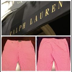 """Ralph Lauren Capri Pants Ralph Lauren Capri Pants are 98% Cotton and 2% Elastane. Size 14. The colors are a Pink and white checkered pattern. Size 14. Rise """"11. Inseam """"19.5. Laying flat from side to side is """"17.5. Length is """"32. This item is in Good condition, Authentic and from a Smoke And Pet free home. All Offers through the offer button ONLY. I Will not negotiate Price in the comment section. Thank You Ralph Lauren Pants Capris"""