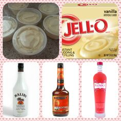Malibu Barbie Pudding Shots #2 1 small Pkg.Vanilla instant pudding ¾ Cup Milk 1/4 Cup Malibu Rum 1/4 Cup Kinky Liqueur 1/4 Cup Peach Schnapps 8oz tub Cool Whip  Directions 1. Whisk together the milk, liquor, and instant pudding mix in a bowl until combined. 2. Add cool whip a little at a time with whisk. 3.Spoon the pudding mixture into shot glasses, disposable shot cups or 1 or 2 ounce cups with lids. Place in freezer for at least 2 hours