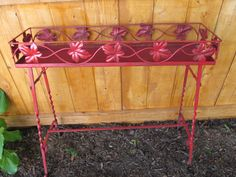 Vintage Red Metal Plant Flower Stand by Mumscottage on Etsy