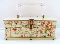 Vintage Confetti Lucite Box Purse