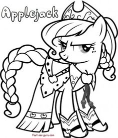 Free Print out Applejack My Little Pony Friendship is Magic Coloring in Pages for kids