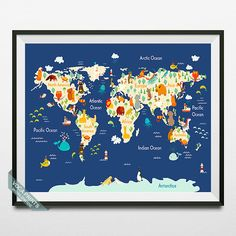 Animal World Map World Map Poster Animal Map Print by VocaPrints