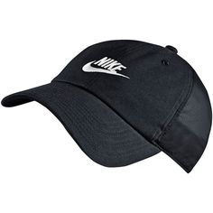 Nike NSW H86 Heritage Performance Cap featuring polyvore, women's fashion, accessories, hats, grey, long hat, grey hat, cap hats, strap hats and embroidered caps