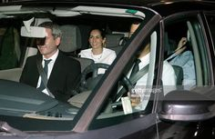Raphael's son Jacobo Martos (L) and daughter Alejandra Martos (2L) leave Royal Theatre after Raphael's concert on July 22, 2015 in Madrid, Spain.