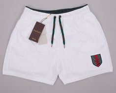 e875e92db8 Gucci Swim Shorts, Mens White Swim Trunks With Snake Web Crest | Clothing,  Shoes