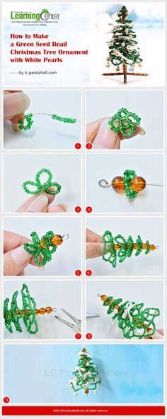 How to Make a Green Seed Bead Christmas Tree Ornament with White Pearl