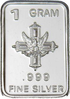 "1 Gram Silver Bar ""Cross & Eagle"" .999 Fine Silver Bullion Bar Round G GR Coin P"