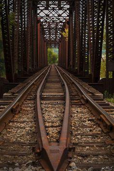 railroad tracks on a bridge