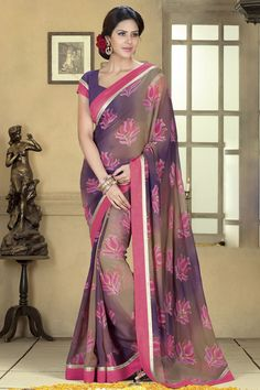 Multi Color #Designer #Printed #Party Wear Saree With Blouse At Skysarees.