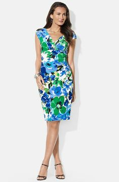 Lauren Ralph Lauren Floral Print Jersey Sheath Dress (Petite) available at #Nordstrom
