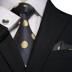 Blue and Gold Silk Necktie Set JPM18E08