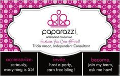 Paparazzi Accessories are all just $5 and under! Contact me at triciaspaparazzi@yahoo.com or www.facebook.com/triciaspaparazzi for more info on buying, selling, or hosting a party! :)