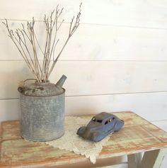 Fuel Can Galvanized Metal Industrial Decor Rustic Farmhouse Decor Antique Vintage Wedding Decor Garage Prop