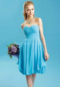 Chiffon Sleeveless Pleated Blue Sweetheart Empire Cocktail Dress AEE0295 $221.99 Blue Cocktail Dresses