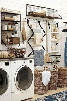 53 Laundry Design Ideas With Drying Room That You Must Try Rustic Laundry Rooms, Farmhouse Laundry Room, Laundry Room Organization, Laundry Storage, Organization Ideas, Storage Ideas, Organization Station, Clothes Storage, Storage Shelves