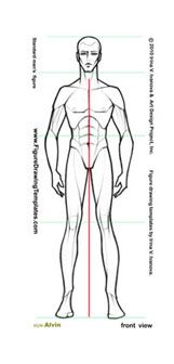 Male figure drawing template.Page 1.Drawing male body: front view in static position.