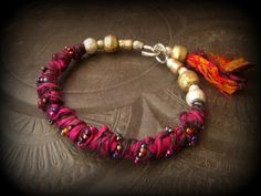 Sari Silk, African Brass, Ethiopian Beads, Glass, Banjara, Bangle,Tassel, Charms