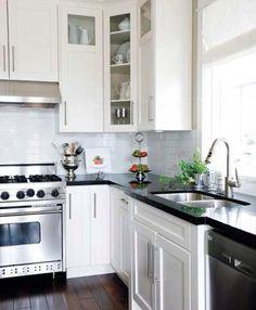 white kitchen with black countertops | Home: Interior | Pinterest ...