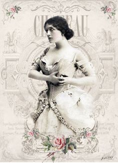 Vintage woman Lina Cavalieri Digital collage p1022 free for personal use..