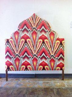Moroccan headboard upholstered in Trina Turk print