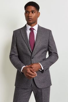 Moss 1851 Tailored Fit Charcoal Puppytooth Jacket Plain Shirts, White Shirts, Suits You, Cool Suits, Crisp White Shirt, Pink Ties, Fitted Suit, Office Looks, Jacket Buttons